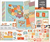 We R Memory Keepers 12x12 Travel Photo Album Scrapbook Supplies Set Kit Bundle with matching 100 Journaling Cards - Kit includes Post Album, Page Protectors, Patterned Paper, Stickers