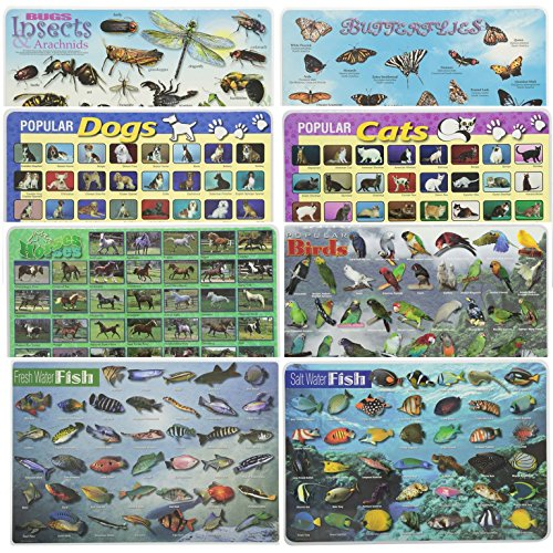 (Painless Learning Educational Placemats for Kids Popular Cats and Dogs, Butterflies, Bugs, Horses, Birds, Fresh and Salt Water Fish 8 Pack)