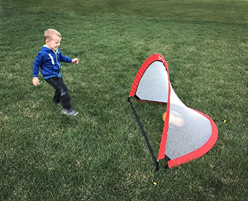 Get Out! Pop-Up Soccer Goal 2-Pack – Portable 4' Foot Kids Net for Hockey, Lacrosse, Indoor and Outdoor Field Sports