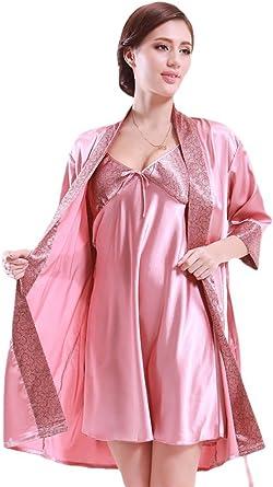 NiSeng mujer pijamas batas de seda en satín manga larga ...