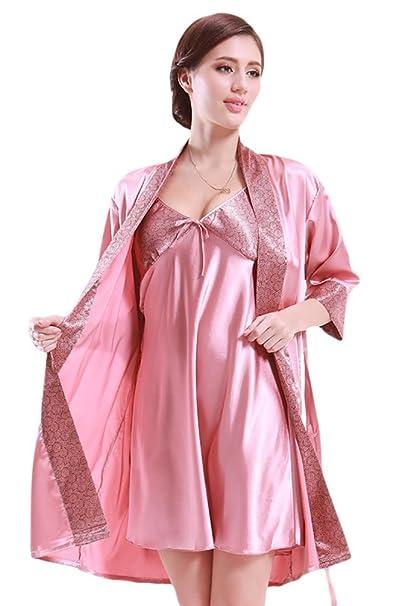 NiSeng mujer pijamas batas de seda en satín manga larga conjuntos de ...