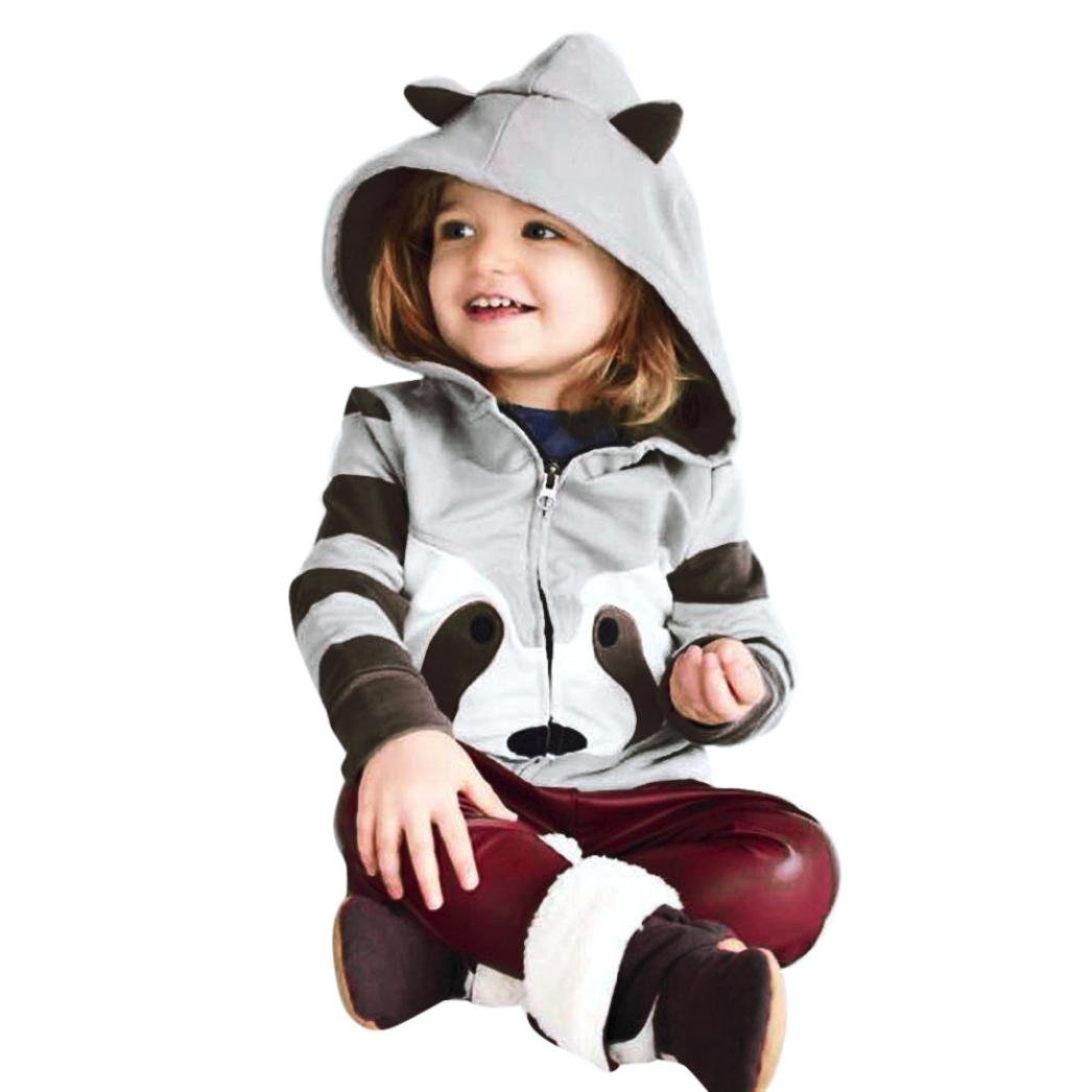 KaloryWee Baby Jackets, Toddler Infant Girls Boys Clothes Cartoon Raccoon Long Sleeve Zip Warm Coat Tops Outfits