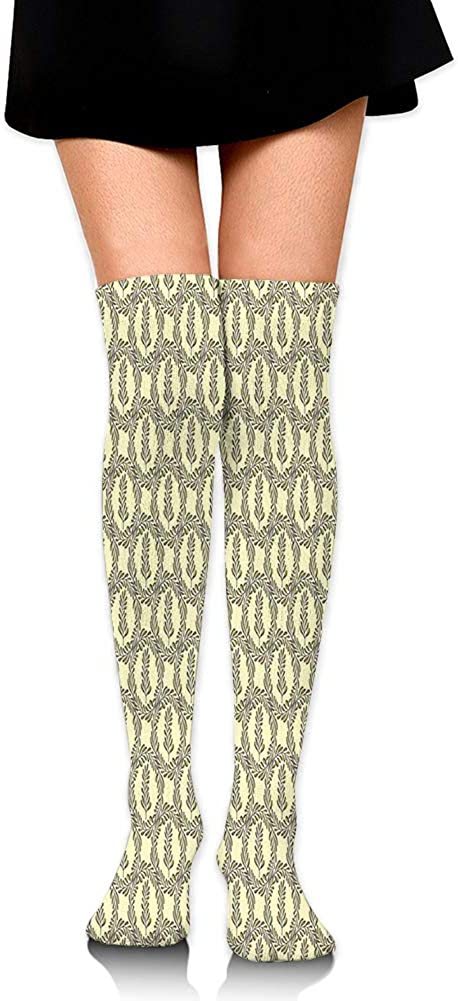 Over Knee High Socks,Ancient Roman Laurel Wreath Style Spruce Branch in Circle Honor Symbol,60CM