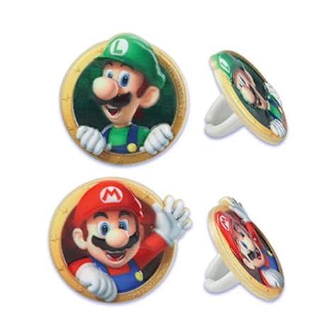 Amazon.com: 12 Anillos de Super Mario Bros Luigi Cupcake ...