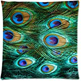 Home Decor Personalized Abstract seamless pattern Peacock feather Zippered Throw Pillow Cover Cushion Case 18x18 (one side)