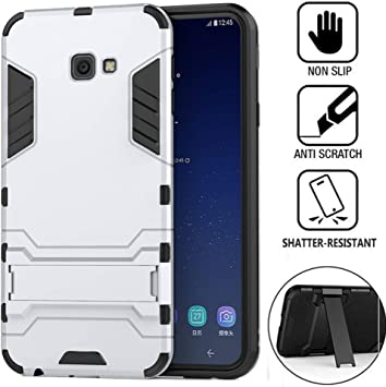DAYNEW Funda para Samsung Galaxy J4 Plus,Robusto y Durable Ultra Delgado Stent Hard Shell Mezcla a Prueba de Golpes Armor Protection Cover para Samsung Galaxy J4 Plus-Plata: Amazon.es: Electrónica