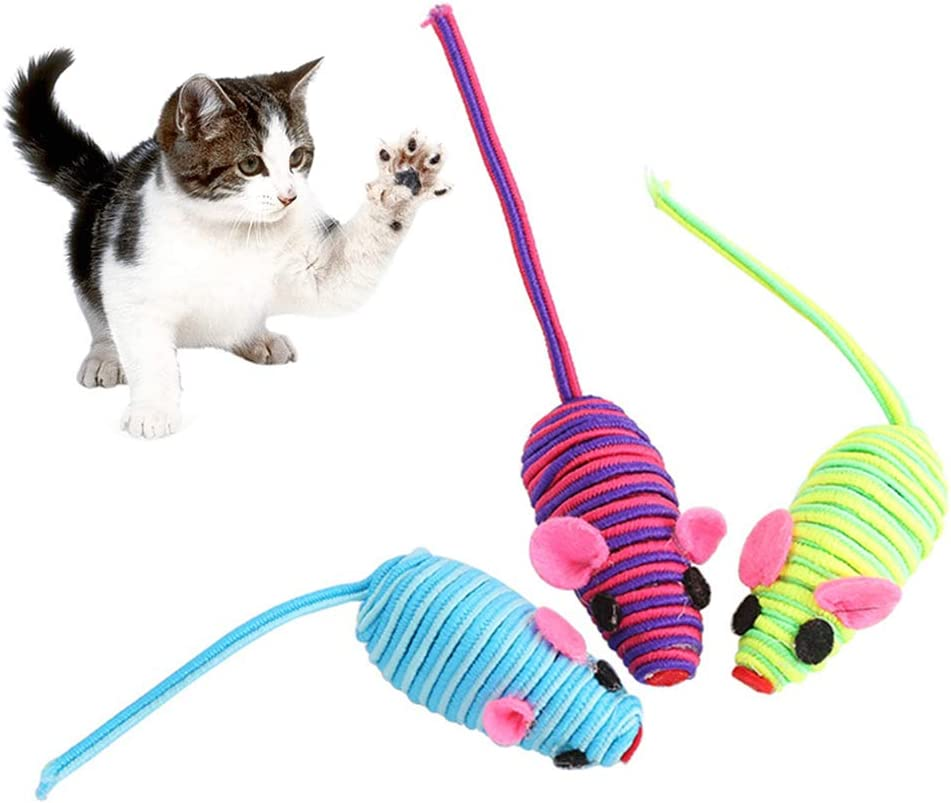 6Pcs Colorful Line Mouse Danigrefinb Teaser Wand Feather Toys for Pet Cats Kitten 4//6Pcs Funny Feather Rope False Mouse Bite Scratch Playing Toys