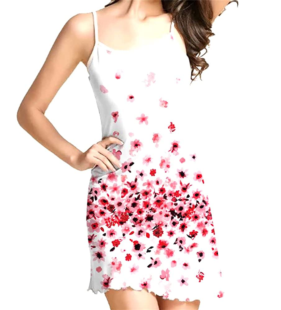 X-Future Womens Casual Spaghetti Strap Floral Bodycon Swing Slip Mini Dress  at Amazon Women s Clothing store  655076a12