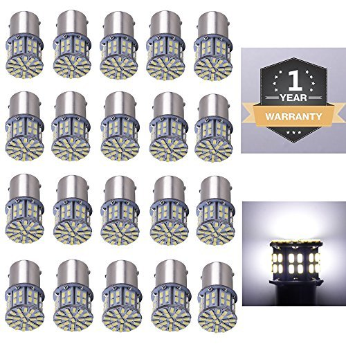 Cargo LED 20 Pcs Extremely Super Bright 1156 1141 1003 1073 BA15S 7506 50 SMD 3014 LED Replacement Light Bulbs for RV Indoor Lights 6000K Xenon White