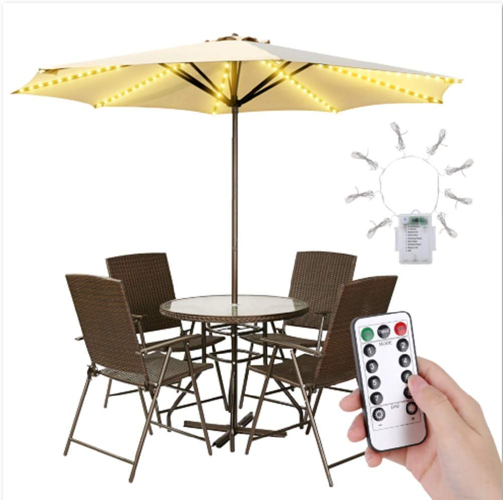Waterproof String Light with Remote Control 8 Brightness Modes 104 LEDs Outdoor LED Umbrella Lights for Pole Camping Patio Umbrella Lights Outdoor Battery Operated