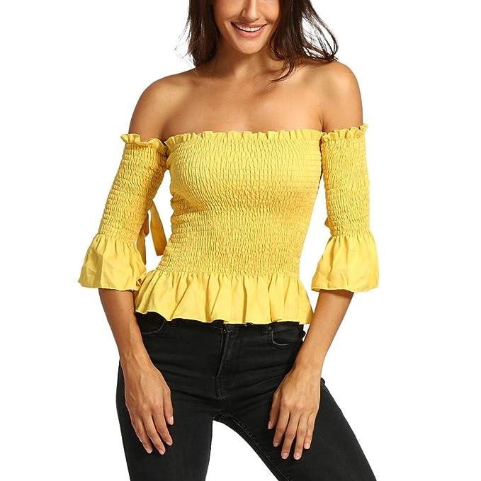 DOGZI Blusas para Mujer Verano Mujeres Sólido Apretado Media Camisa Slash Backless Cuello Tops Blusa Camisa