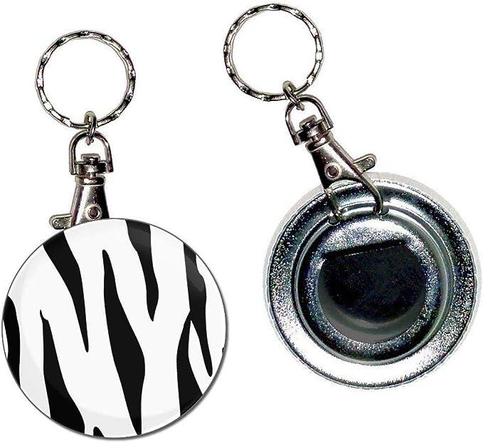 55mm Button Badge Bottle Opener Key Ring New Zebra Print