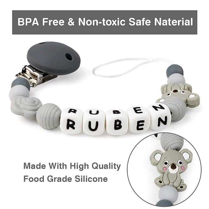 Cadena Chupetes Personalizado con Nombre Koala Mordedor Bebes Cuentas Silicona Clips de Chupete Soothie Clip Sin BPA (Gris)