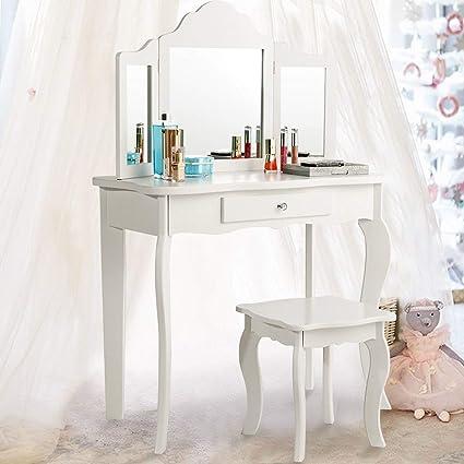Amazon Com Costzon Kids Wooden Vanity Table Stool Set Princess