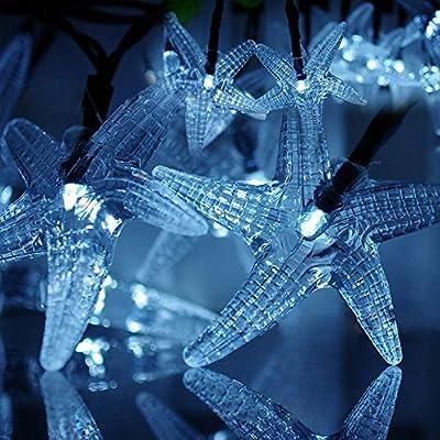 LED SopoTek Solar Powered White LED Christmas Light, 16.4Ft 4.8Meters 20LED Starfish Solar Fairy String Lights for Outdoor, Gardens, Homes, Wedding, Christmas Party, Waterproof (20LED Cool White)