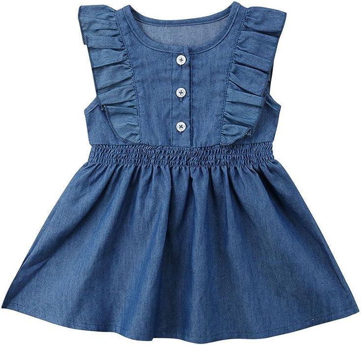 Girl Summer Ruffle Princess Dress Kid Baby Party Denim Dresses Sundress Clothes Mother & Kids Girls' Clothing