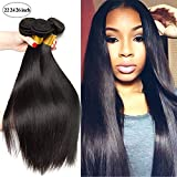 SEXAY 100% Brazilian Straight Hair Bundles 22 24 26 inch Grade 8A Unprocessed Virgin Remy Human Hair 3 Bundles Real Human Hair Extensions for Women Natural Color