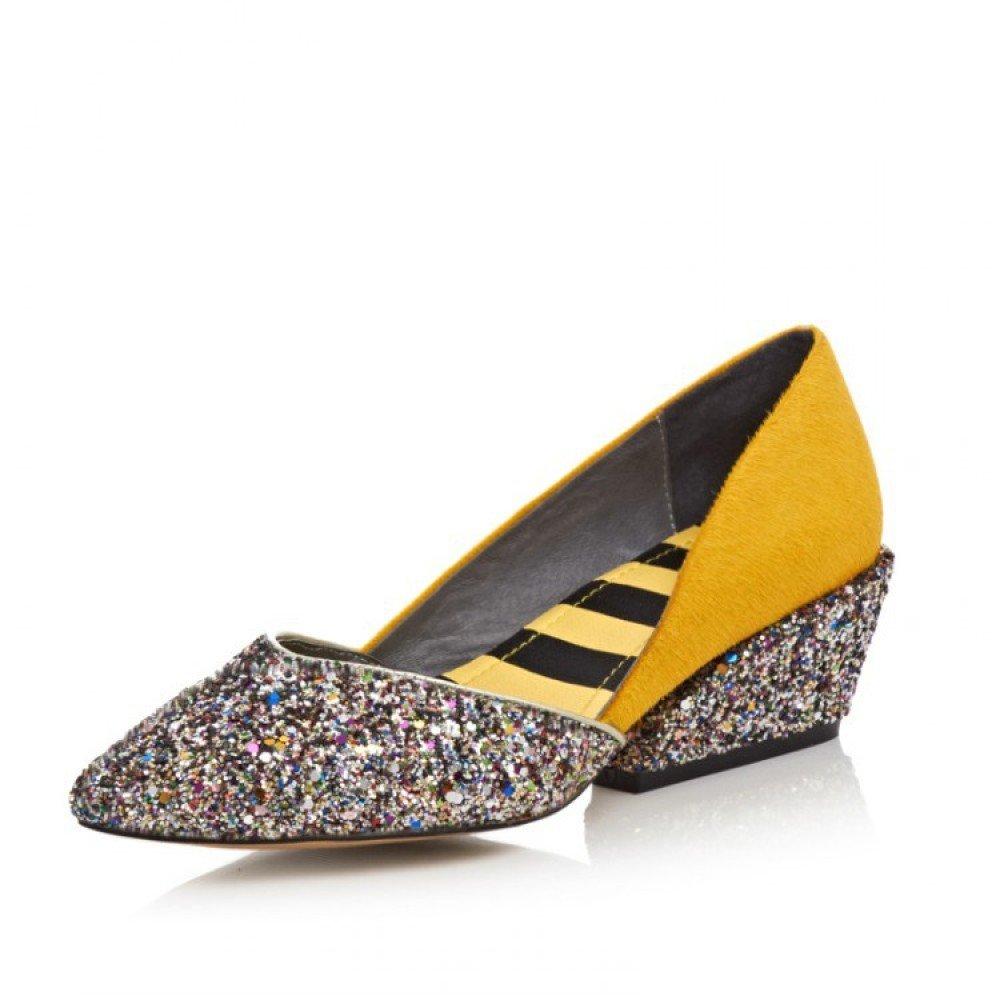 Frauen Beleuchtung Pailletten Keile Schuhe Wies Flache Casual Sandalen Sommer Pumpen Hochzeit Arbeit  35 EU|Yellow