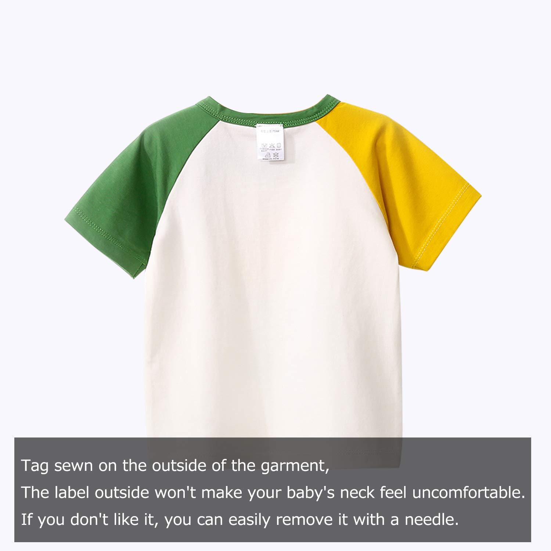 YFYBaby Baby Boys Girls Clothes Sleeve Shirts Raglan Shirt Baseball Tee Cotton Summer 2 Packs1-4yeas
