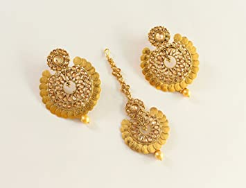 indian img angur jhumka gold antique glimour jewellery meena earrings large