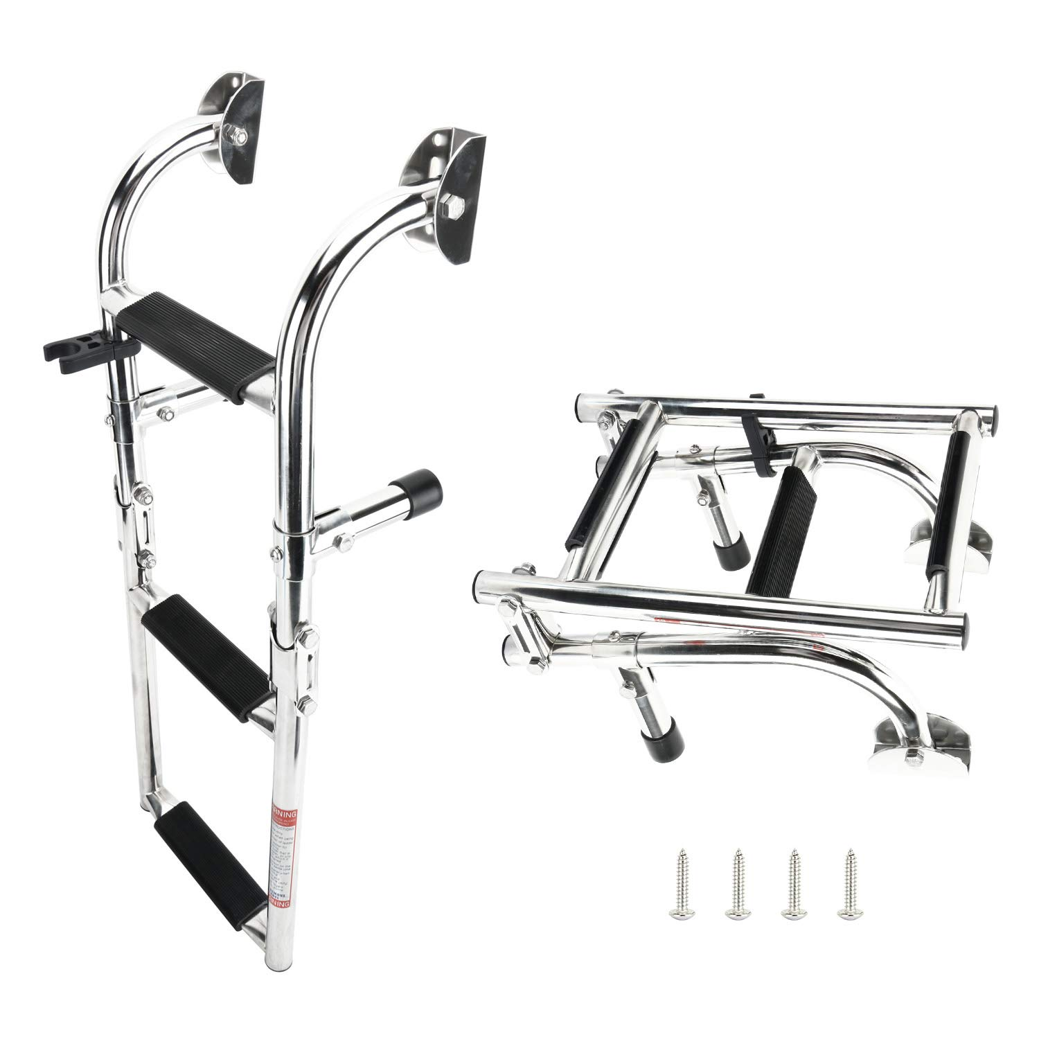 DasMarine 3 Step Folding Ladder Boat Marine Stainless Steel Pontoon Ladder Polished 2+1 Step (Mounting Screws are Included), 300-lbs. Weight Capacity