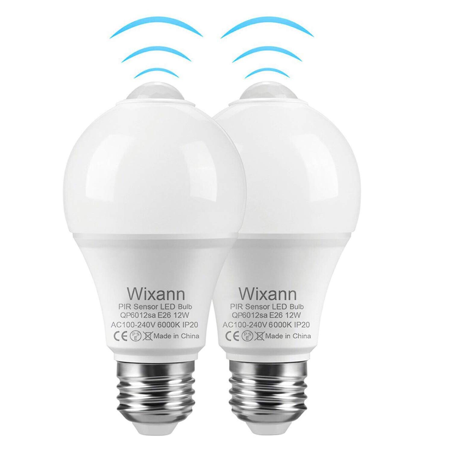 Smart Motion Sensor Light Bulbs, Built-in Motion Detector and Photocell Sensor, Automatic on/Off, Dusk to Dawn, A19/E26/120V/12W/1000lm for Porch Hallway Stairs Garage (2Pack, 6000K Cool White)