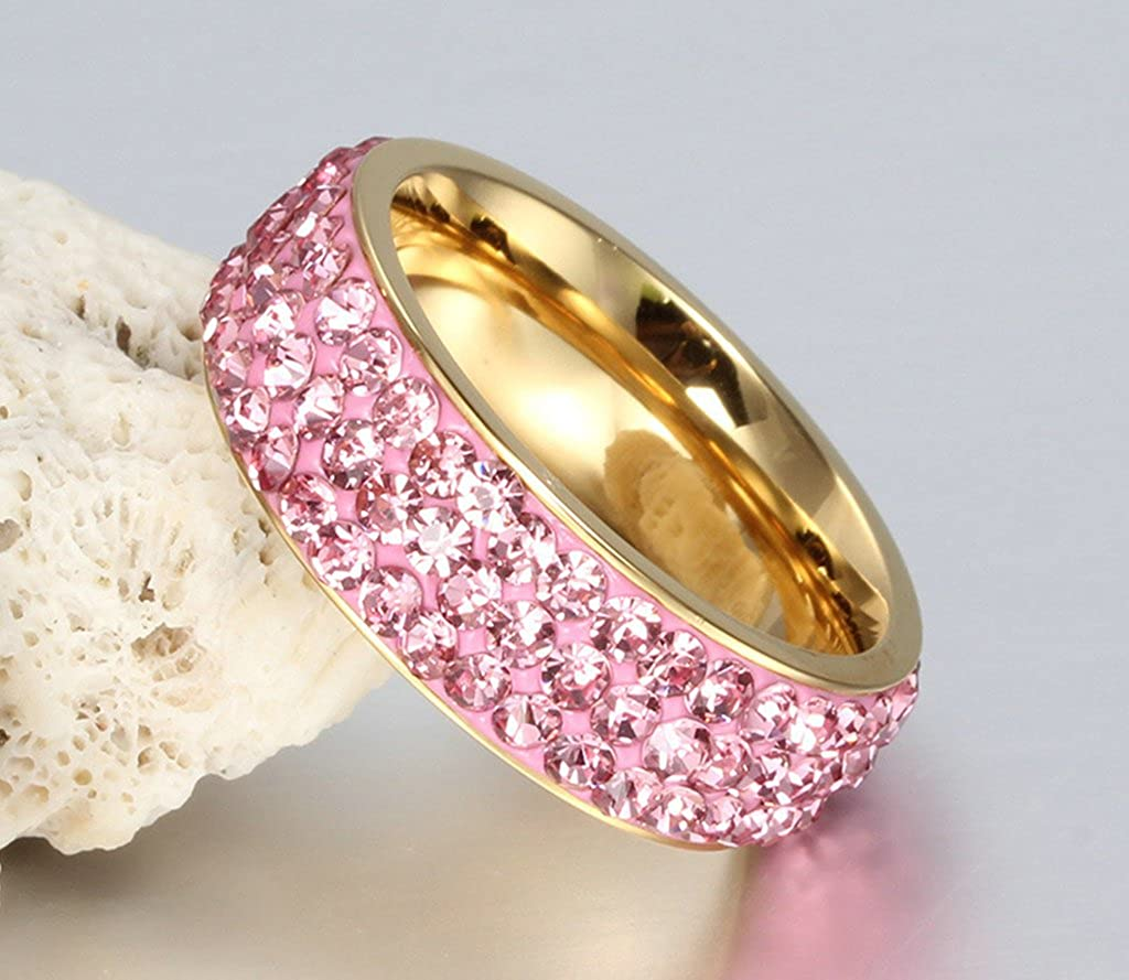 Stainless Steel Ring Eternity Crystal Rock 7MM Wedding Bands For Women Gnzoe Jewelry
