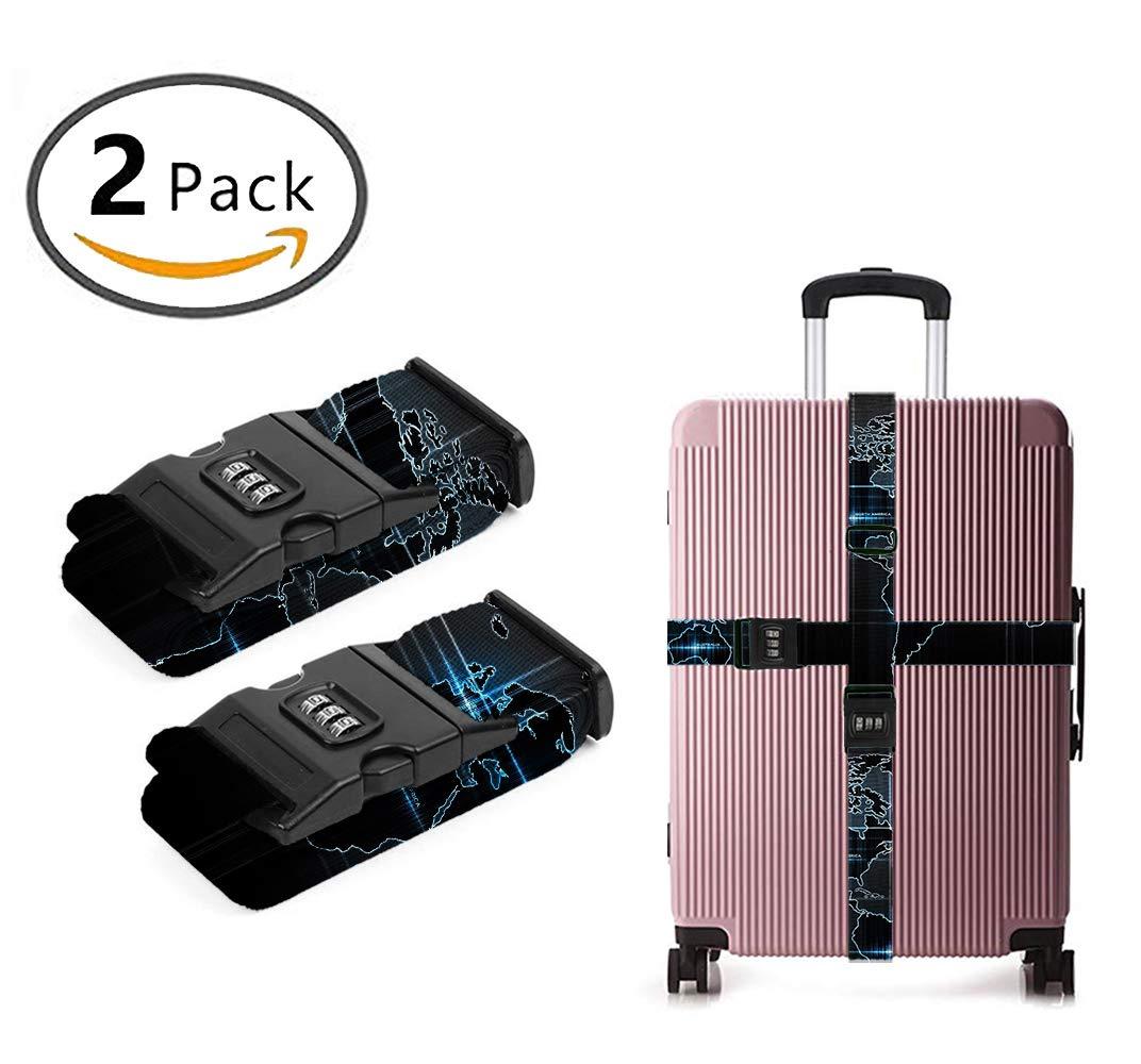 YEAHSPACE Adjustable Retro World Map Art(2) Personalized Men Women 3D Luggage Straps TSA 3-dial Combination Lock Heavy Duty 2-Pack