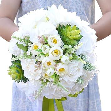Bpblgf Braut Blumen Halten Handarbeit Weisse Rose Brautjungfer Braut