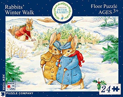 New York Puzzle Company - Beatrix Potter Rabbits' Winter Walk - 24 Piece Jigsaw Puzzle