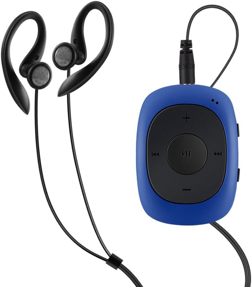 AGPtek G02 Mini-clip Reproductor de MP3 8 GB de capacidad con radio FM( una Funda silicona incluido) , Azul