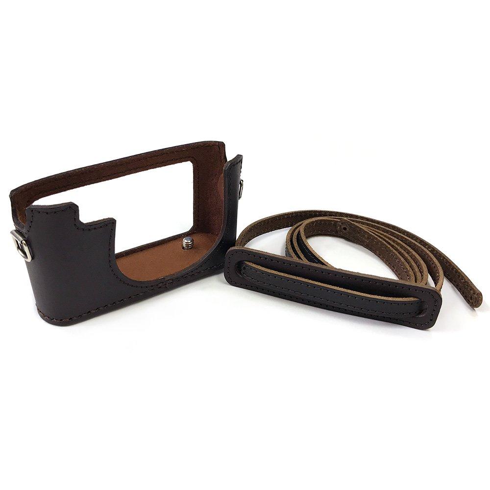 カメラ.ヒラノ Leica ライカ D-LUX4用 ハンドメイド本革カメラケース(ストラップ付属) ブラウン B07F1PNPVW