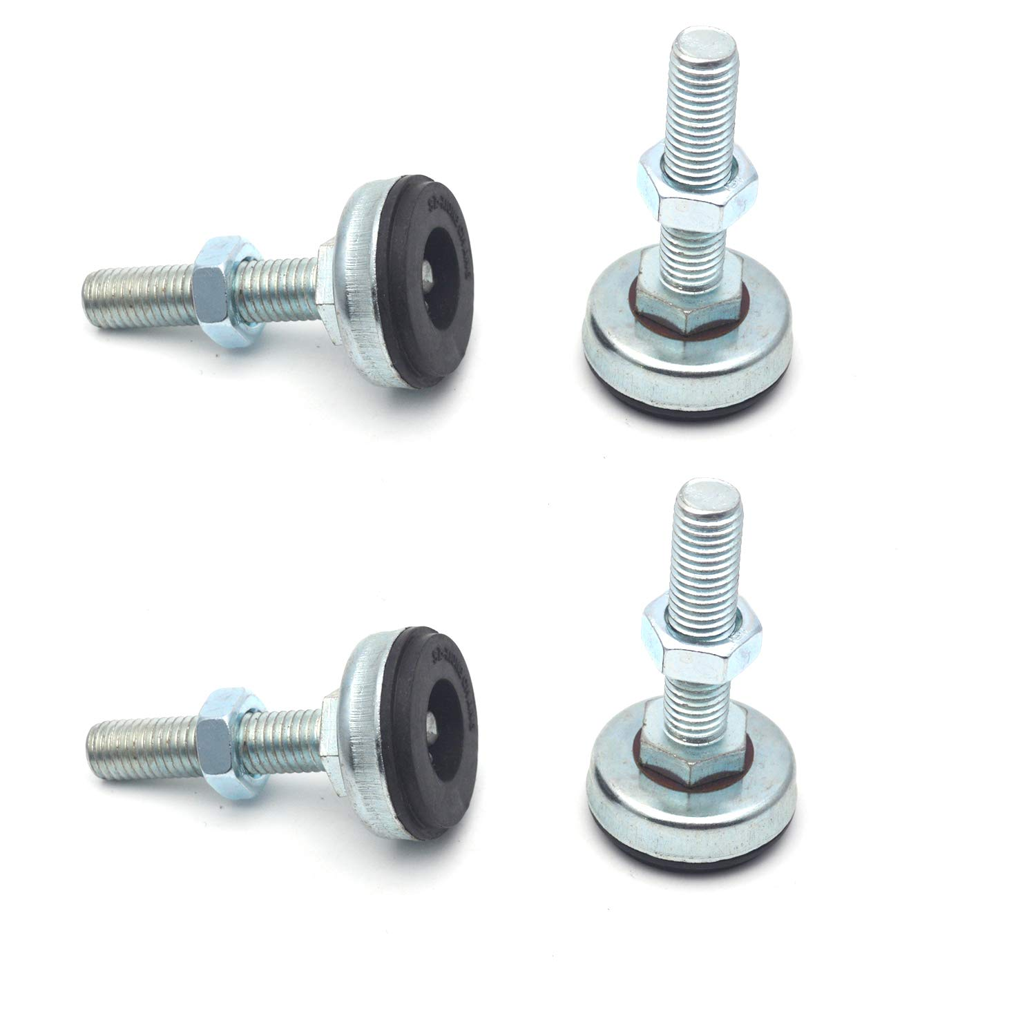 Antrader 4PCS M12 Thread Adjustable Pole Leveling Foot Carbon Steel Shockproof Self Leg Leveler - Base Diameter 1-3/5 Inch, 600 LB Capacity for Workbench, Machine, Cabinet & Heavy Duty Applications