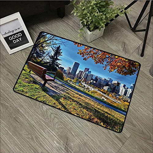 Moses Whitehead Outdoor Indoor Entrance Doormat City,Park Bench Overlooking The Skyline of Calgary Alberta During Autumn Tranquil Urban,Multicolor,for Entry, Garage, Patio, High Traffic Areas,16