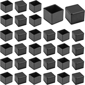 """1"""" x 1"""" Square Chair Leg Caps, WarmHut 32pcs Black Anti-Slip 1 Inch Chair Leg Floor Protectors Chair Table Bar Stool Leg Covers Furniture Leg Cube Feet"""