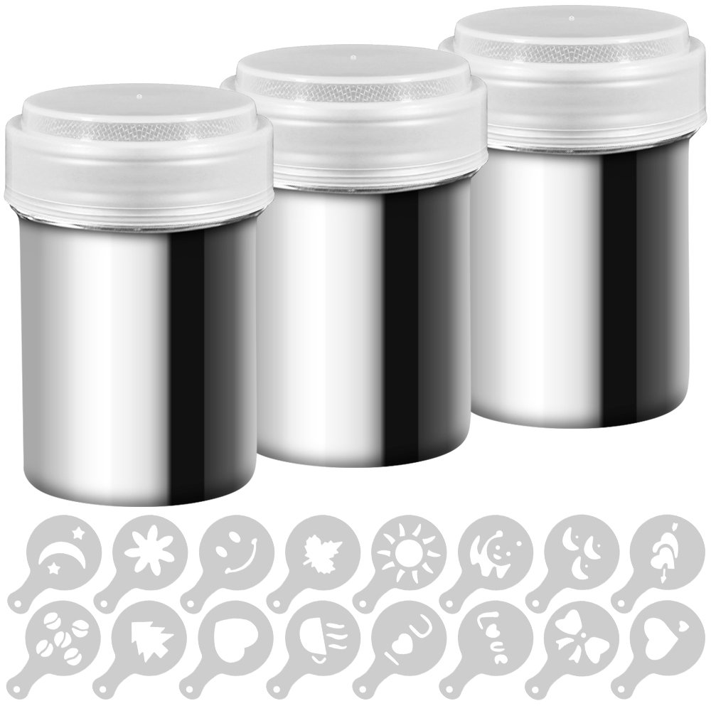 3 Pack Stainless Steel Powder Shaker, Coffee Cocoa Dredges with Fine-Mesh Lid, AIFUDA Power Can For Baking Cooking Home Restaurant with 16 Pcs Printing Molds Stencils by AIFUDA