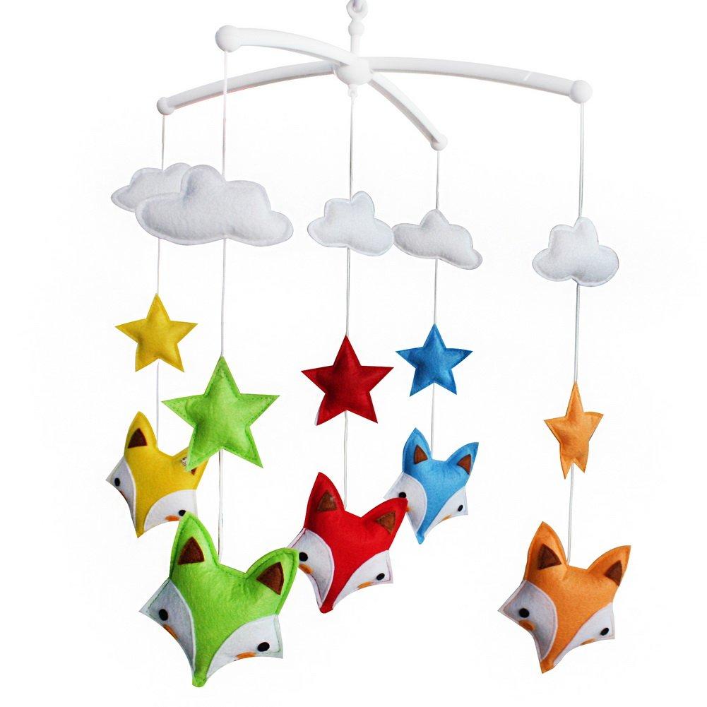 Jouet bébé, cadeau bébé, mobile musical infantile [Renards, coloré], Bed Bell Blancho Bedding