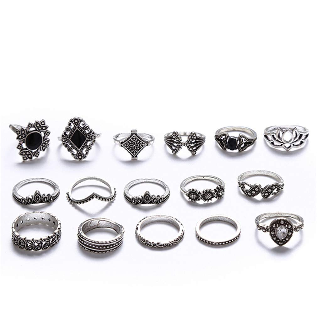 TraveT 15pcs/Set Vintage Knuckle Ring Set for Women Bohemian Joint Finger Rings Punk Flower Carved Stackable Midi Ring Set Party Jewelry