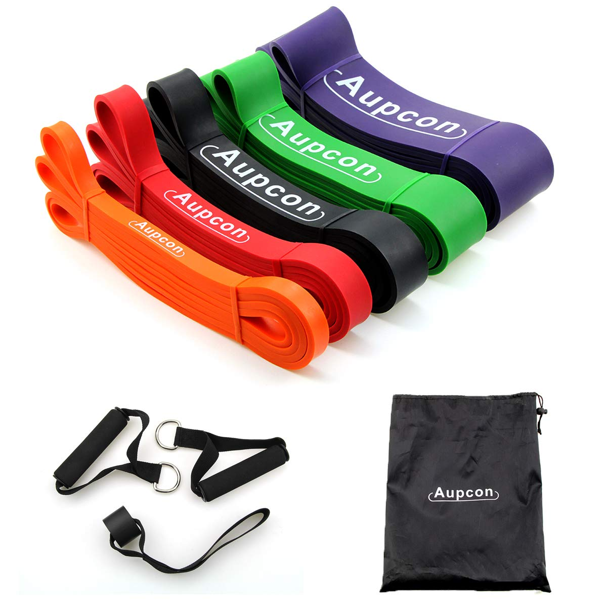 AUPCON Pull Up Assist Bands Resistance Band Exercise Bands Home Fitness, Stretching and Assistance Training Band (#6 Set of 5)