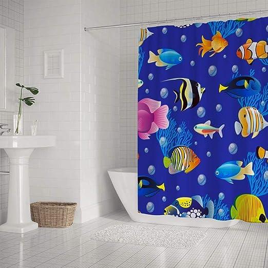 Kuizee Cortina de ducha Impermeable? Cute Blue Sea Fish ...