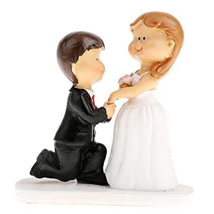 NF&E European Cartoon Wedding Cake Topper Rommantic Bride and Groom ...