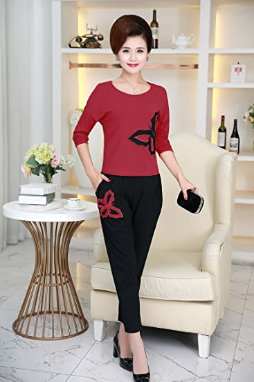 Amazon Com Fall In Elderly Women Suit Long Sleeved Shirt Sports