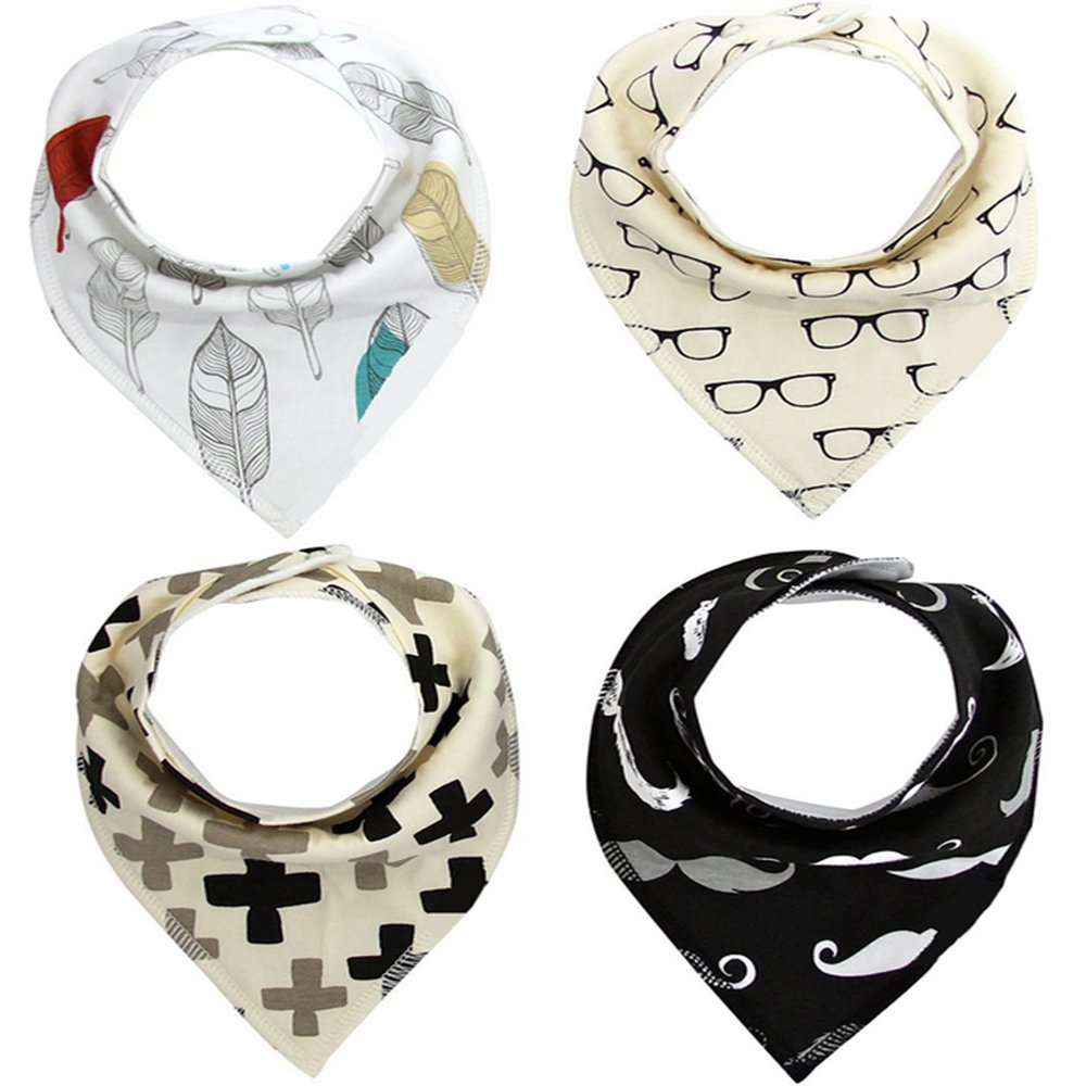 AYG 4 PCS Absorbent Cotton Baby Dribble Bibs Bandana Triangle Feeding Double Layer Saliva Towel (12 Combinations Optional)