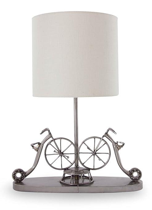 NOVICA Reciclado de metal decorativa lámpara de mesa ...