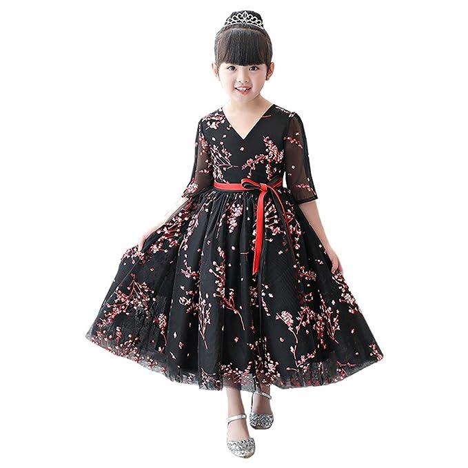 c62efc0eb LSERVER Elegante vestido negro de princesa nina para fiesta o Navidad con  flores con mangas