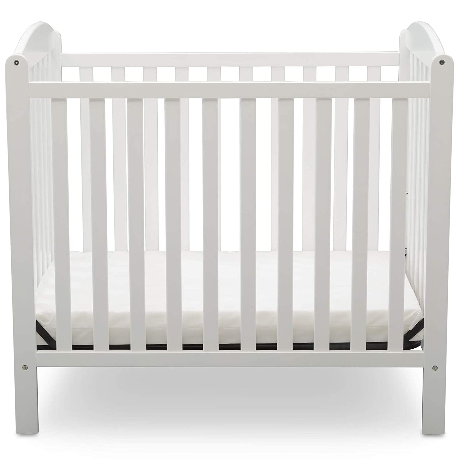 Amazon.com : Delta Children Emery Mini Convertible Baby Crib with Mattress, Bianca White : Baby