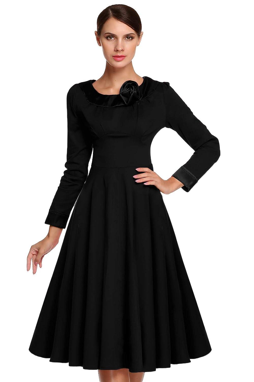 ACEVOG Elegant Damen 1950er Retro Vintage Abendkleider Langarm O-Ausschnitt Festkleid Party Cocktailkleid Weinlese Rockabilly Swing Empire Kleid Wadenlang