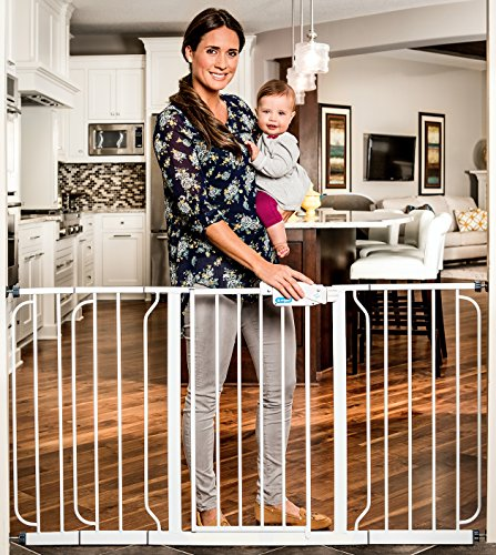 Regalo Extra WideSpan Walk Through Safety Gate, White Regal Spindle