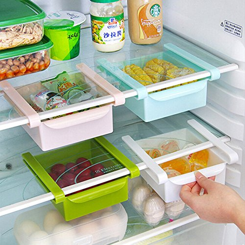 GreenSun(TM) Brand new 4 Colors Slide Kitchen Fridge Freezer Space Saver Organizer Storage Rack Shelf Holder Drawer (Vertical Freezer Rack)