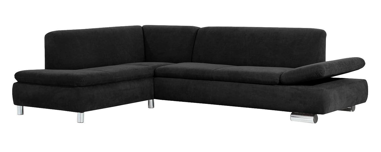 Max Winzer 28712642051740 Polsterecke Tournai 2.5-Sitzer mit Ecksofa links samtiges Flachgewebe, schwarz